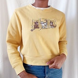 HASTING & SMITH | yellow cat reworked sweater 478